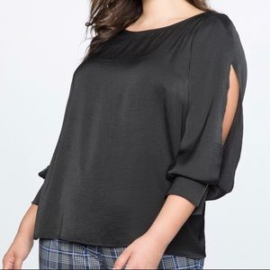 Eloquii 18 Black Easy Top With Slit Sleeve